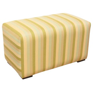 Green and Light Blue Striped Ottoman For Sale