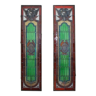 Pair of French 19th Century Stain Glass Window For Sale