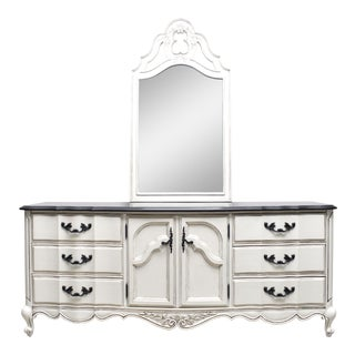American of Martinsville French Provincial 9 Drawer Dresser /Buffet With Mirror
