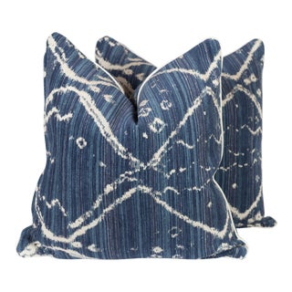 Navy Tribal Ikat Pillows - A Pair