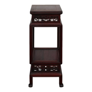Chinese Vintage Huali Rosewood Square Carving Plant Stand Pedestal Table