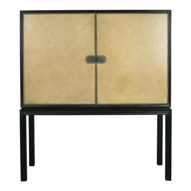 1940s Lacquered Mahogany & Leather Chest by Tommi Parzinger For Sale