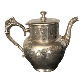 Victorian Aurora Silver Plate Teapot For Sale