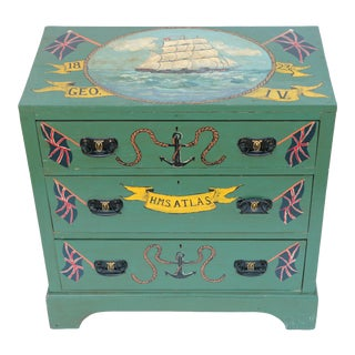 Painted Naval Campaign Style Chest of Drawers