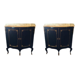 Gilt and Ebonized Marble Top Cabinets - a Pair For Sale