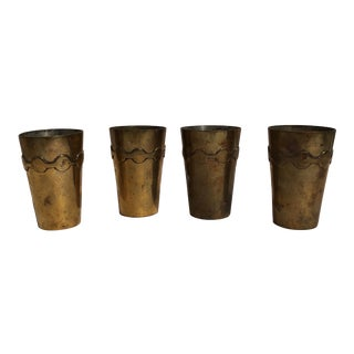 Patinated Brass Cups - Set of 4