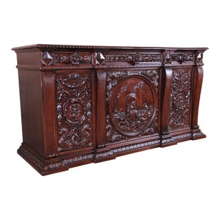 19th Century Ornate Carved Walnut Sideboard or Bar Cabinet Attributed to Horner, Newly Restored For Sale