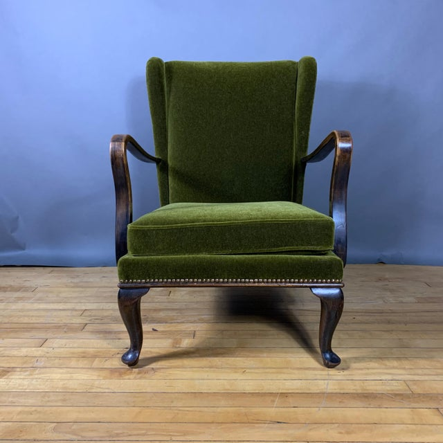Walter Knoll 1950s Walter Knoll Mini Wingchair, Mohair, Germany For Sale - Image 4 of 12