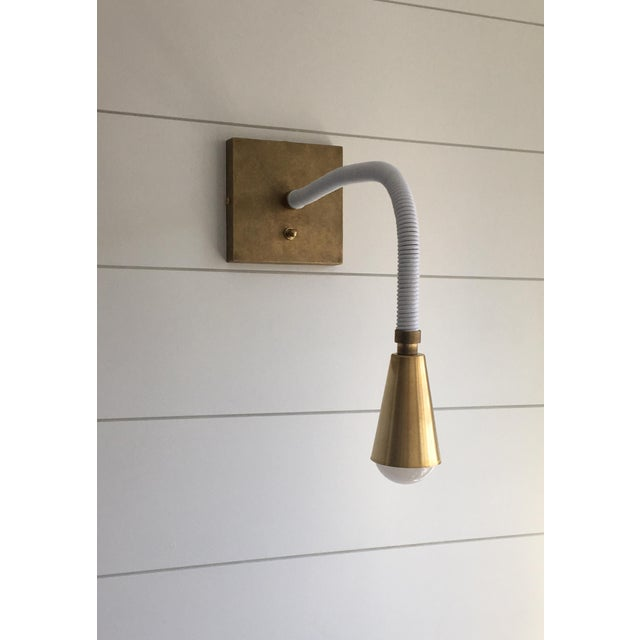 Contemporary Avantgarden Meander Leather and Brass Sconce For Sale - Image 3 of 6