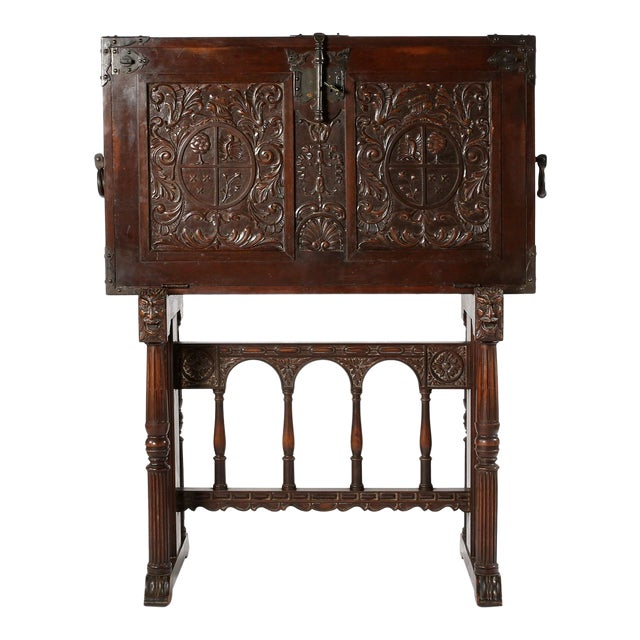 8th Century Baroque Style Cabinet on Stand / Bargueno / Vargueno For Sale
