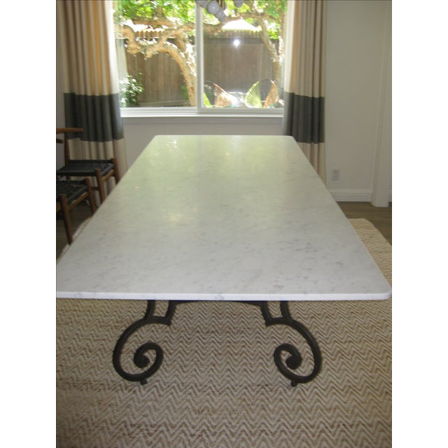 Honed Carrara Marble & Iron Dining Table - Image 5 of 5
