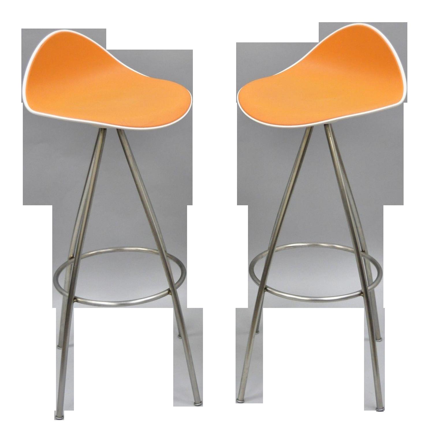 Onda Orange Rubber U0026 Steel Metal Barstools  A Pair 36 Bar Stools O6