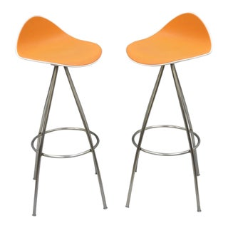 Onda Orange Rubber & Steel Metal Barstools - A Pair For Sale