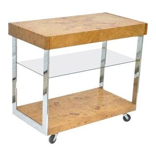 1960s Mid Century Modern Lane Burl Wood Chrome and Glass Bar Cart For Sale