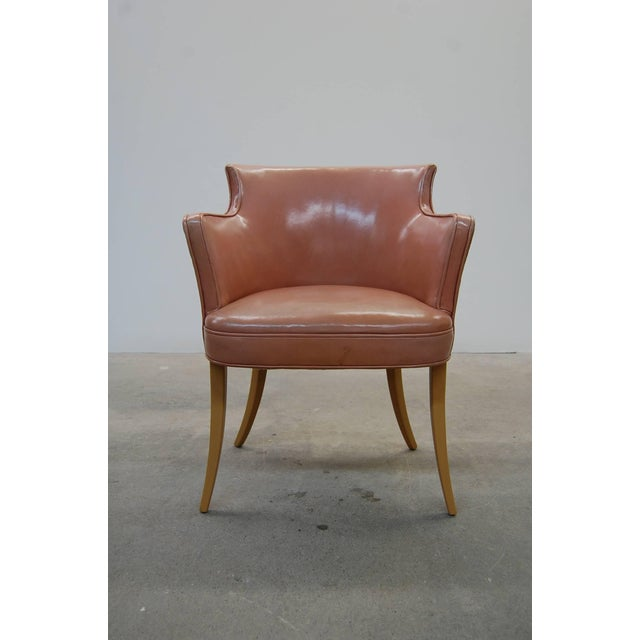 Set of four early Edward Wormley designed dining chairs, in original leather, circa 1945. Listing is for the set of four,...