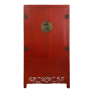 Antique Chinese Red Lacquered Cabinet/Armoire For Sale