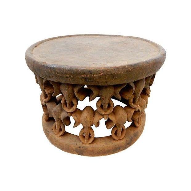 African Elephant Bamileke Table Stool - Image 6 of 7