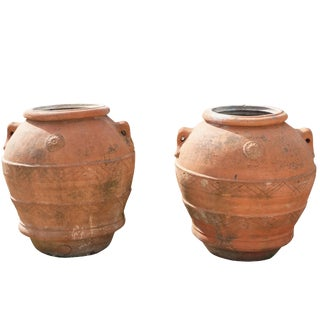 Mid-19th Century Tuscan Terra Cotta Clay Pots Jars - a Pair For Sale