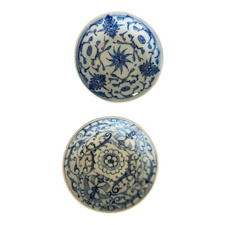 20th Century Chinese Small Blue and White Plates - a Pair For Sale