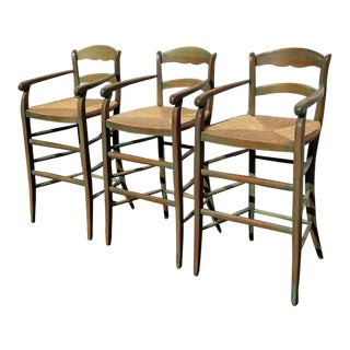 Set of Three French Country Green W Rush Seats Bar Stools Barstools For Sale
