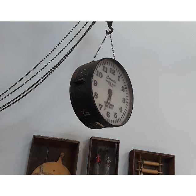 Industrial Vintage Industrial Factory Clock For Sale - Image 3 of 6