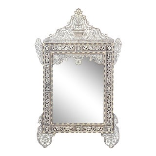 Vintage Mother of Pearl Inlaid Mirror For Sale