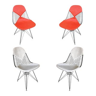 Charles Eames Orange Dkr Bikini Chair for Herman Miller, - Set of 4 For Sale
