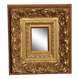 "Vintage 17""x16"" French Provincial Ornately Carved Gold Picture Frame For Sale"
