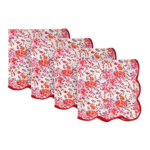 Pink Floral Scalloped Napkins - Set of 4 For Sale