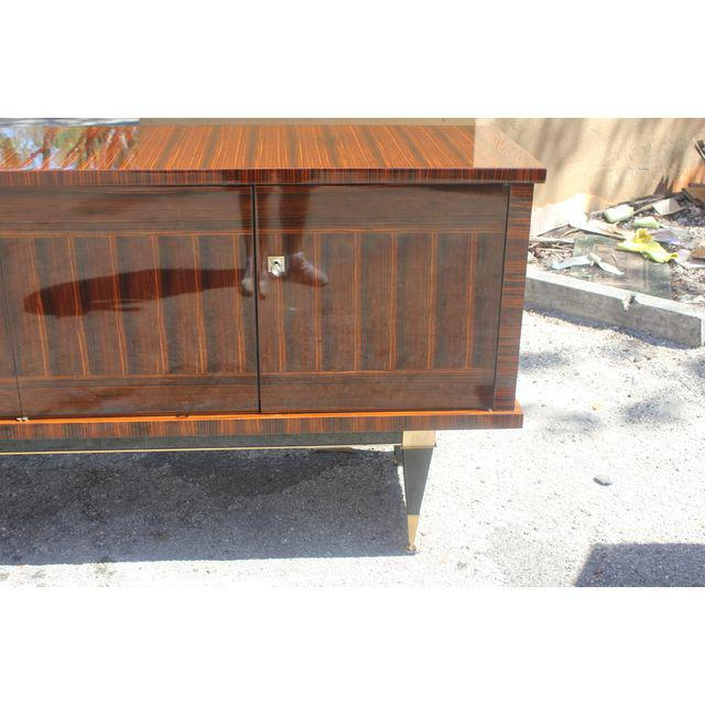 Classic French Art Deco Macassar Ebony Sideboard / Credenza / Buffet Circa 1940s For Sale - Image 9 of 13