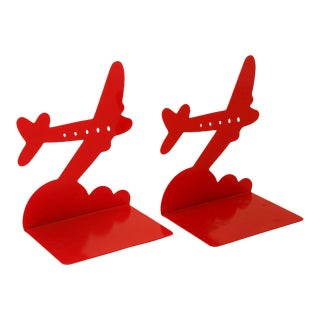 1940s Art Deco Red Metal Airplane Bookends - a Pair