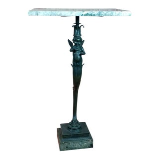 Marble Top French Bronze Winged Cherub Table For Sale