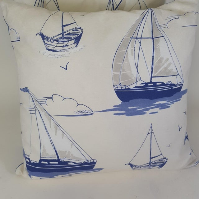 2010s Blue Sailboat Accent Pillows - a Pair For Sale - Image 5 of 9