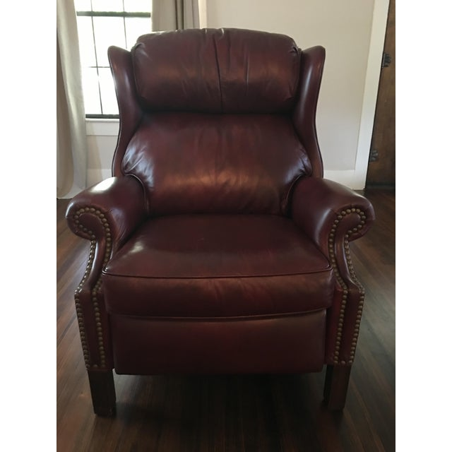 Hancock & Moore Addison Bustle Back Ball & Claw Recliner in Red Leather - Image 3 of 11