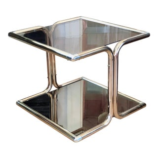 Vintage 1970s Modern Brass, Chrome and Glass Side Table For Sale