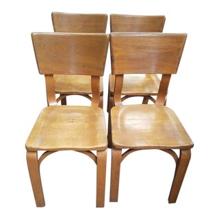 Set of Four Thonet Ny Maple Chairs. Ford Motor Co. Plaque For Sale