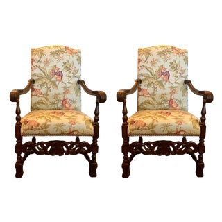 Vintage Carved Mahogany Armchairs With Kravet Monkey Fabric - a Pair For Sale
