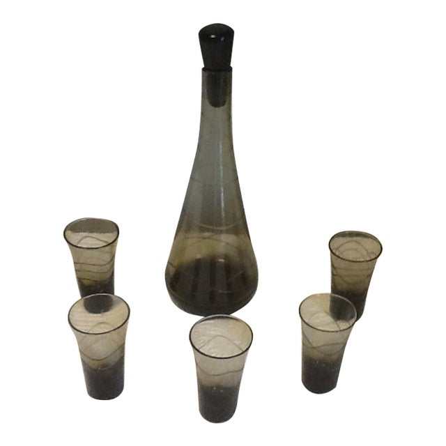 Mid Century Smoked Glass Decanter & 5 Cordial Glasses - Set of 6 For Sale