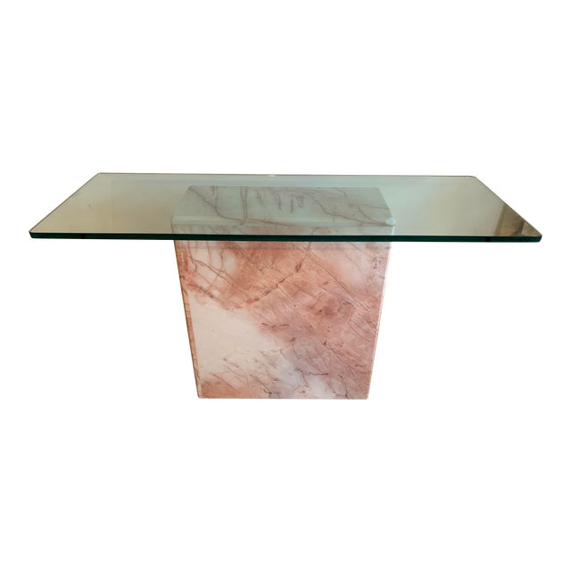 1970s Pink Marble Console With Thick Glass Top For Sale