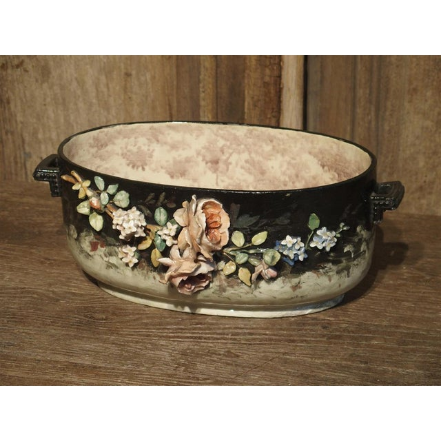 Clay Circa 1880 Edouard Gilles Barbotine Jardiniere From France For Sale - Image 7 of 13