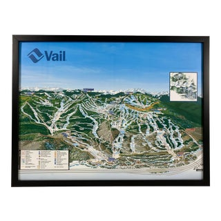 Vintage 1990's Map of Vail Ski Slopes Poster For Sale