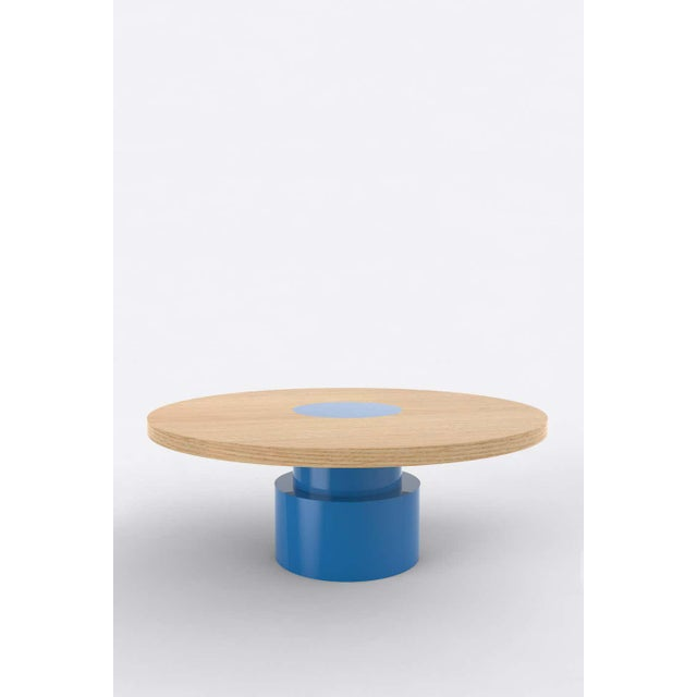 Postmodern Contemporary 100C Coffee Table in Oak and Blue by Orphan Work, 2020 For Sale - Image 3 of 3