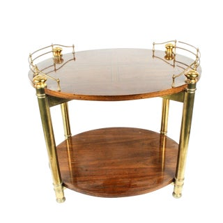 1970s French Louis XVI Style Wood and Brass Tone Tea Table by Drexel