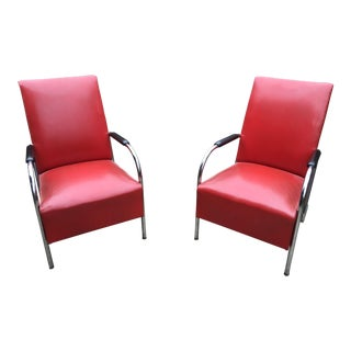1950s Vintage Chrome Industrial Style Chairs - A Pair