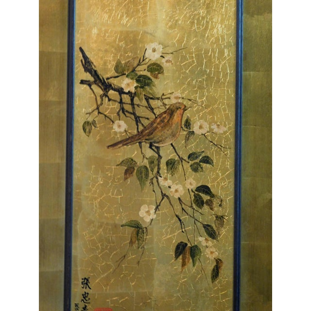 Asian Vintage Golden Bird Art For Sale - Image 3 of 7