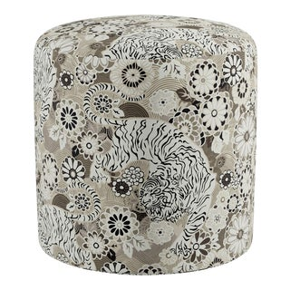 Drum Ottoman In Grisailles Siberian Tiger By Old World Weavers For Sale