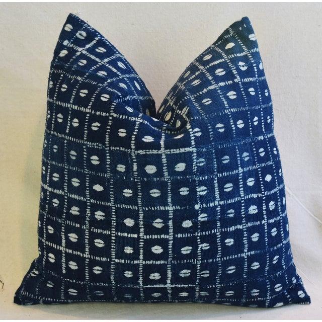 Indigo Blue & White Mali Tribal Feather/Down Pillow - Image 8 of 8