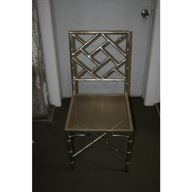 Nickel Bamboo Side Chair - Image 4 of 7