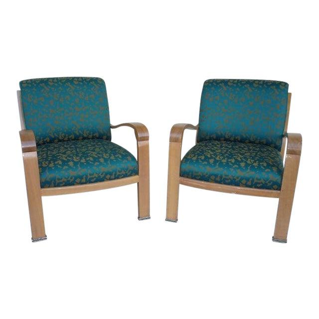 Pair of J. Robert Scott Sally Sirkin Lewis Deco Lounge Chairs For Sale