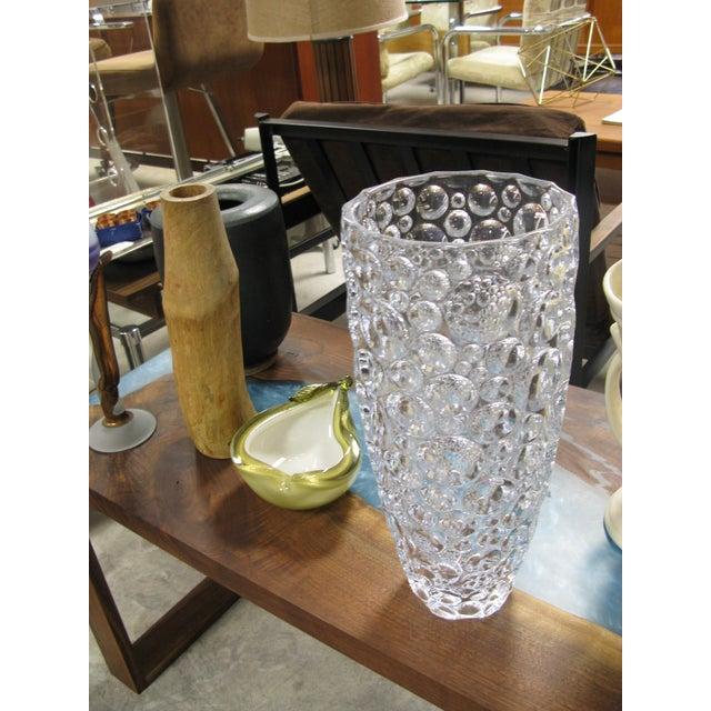 Glass 1990s Czech Vase Bubble Thumbprint Bohemia Glass For Sale - Image 7 of 10
